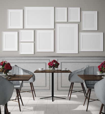 Poster mock up in modern cafe interior background, 3d render