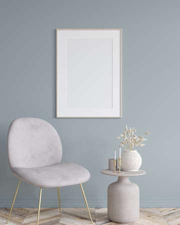 Poster mock up in home interior background, modern style, 3d render 免版税图像