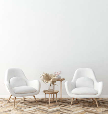 Living room interior with white armchairs and dry flowers on table, white wall mock up background, 3D render