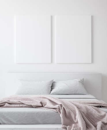 Mockup poster in bedroom, Scandinavian style, 3d render