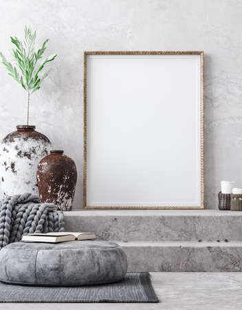 Mockup poster in ethnic style living room interior, 3d render 免版税图像