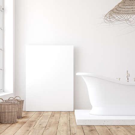 Mockup poster in minimalist white bathroom interior, 3d render