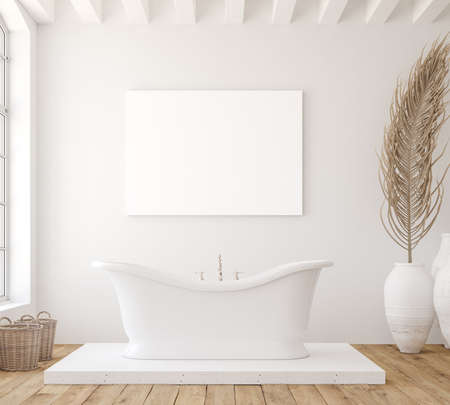 Mockup poster in minimalist white bathroom interior, 3d render