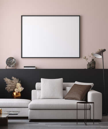 Mockup poster in minimalist modern living room interior background, 3D render