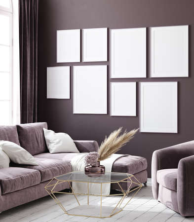 Mockup poster in dark violet monochrome modern living room interior background, 3D render