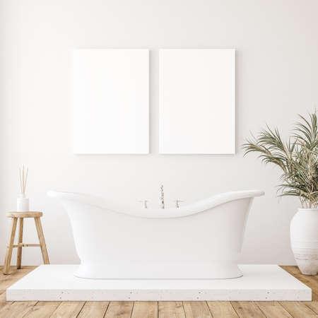 Mockup canvas in minimalist white bathroom interior, 3d render