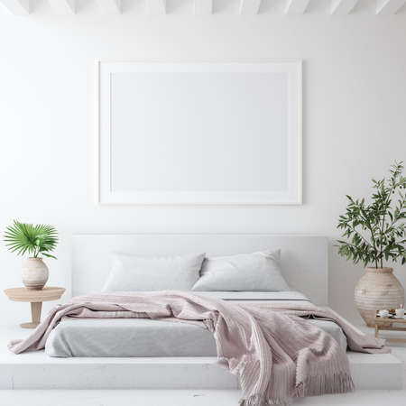 Mockup poster frame in white cozy bedroom interior, Scandinavian style, 3d render