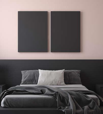 Mockup poster in modern bedroom, 3d render