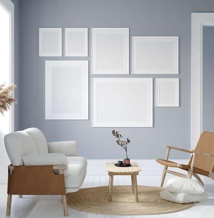 Mockup poster in modern living room interior in pastel colors, 3D render 免版税图像