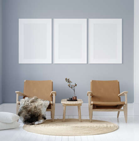 Mockup poster in modern living room interior in pastel colors, 3D render 免版税图像