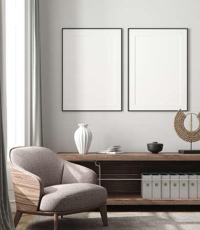 Mockup poster in modern living room interior background, 3D render