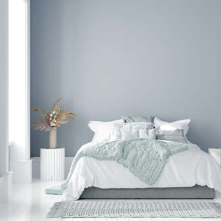 Home interior mock-up with bed, table and bouquet in bedroom, 3d render