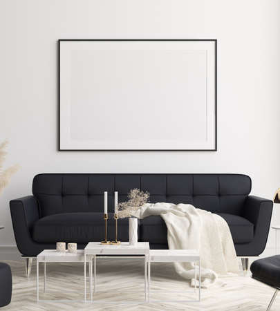 Mockup poster in modern living room interior background, 3D render