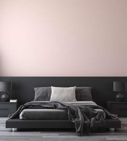 Minimalist modern bedroom interior background, 3D render