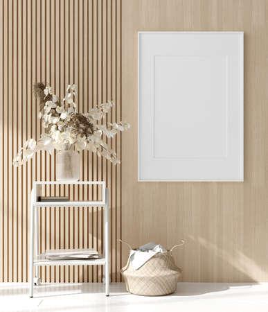 Mock up poster in warm Scandinavian style living room interior with wooden decor, 3d render 免版税图像
