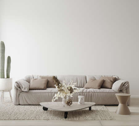 Minimalist modern living room interior background, Scandinavian style, 3D render