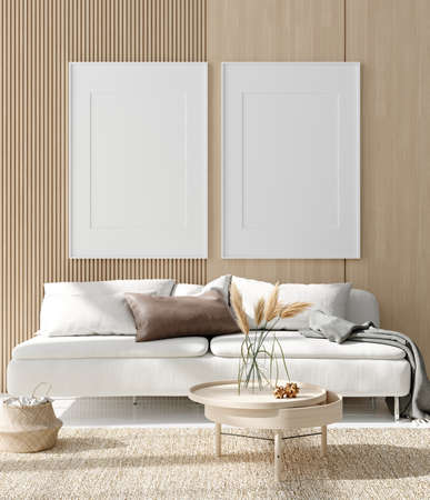 Mock up poster in warm Scandinavian style living room interior with wooden decor, 3d render 免版税图像