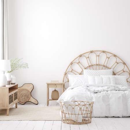 Coastal boho style bedroom interior, wall mockup, 3d render 免版税图像