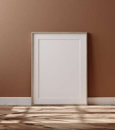 Wooden frame with poster mockup standing on floor, 3d render
