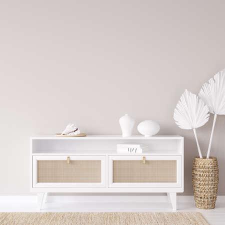 Mock up frame in cozy coastal home interior background, 3d render 免版税图像