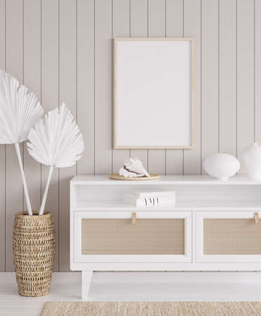 Mock up frame in cozy coastal home interior background, 3d render Фото со стока