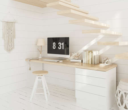 Home office, work from home, 3d render 免版税图像