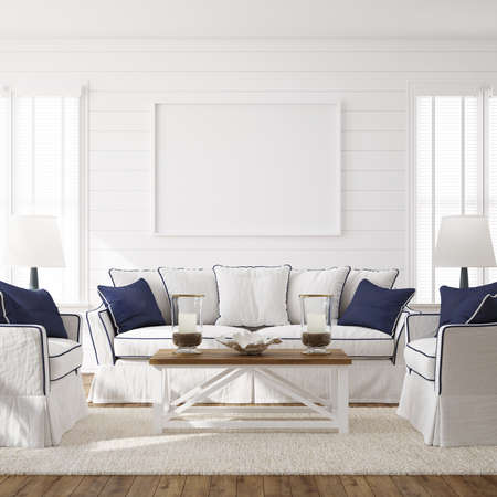 Hampton style living room interior with frame mockup, 3d render