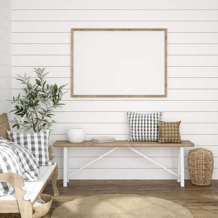 Frame mockup in farmhouse living room interior, 3d render 免版税图像