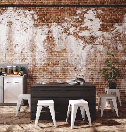 Loft apartment, kitchen interior, industrial style ,3d render 免版税图像