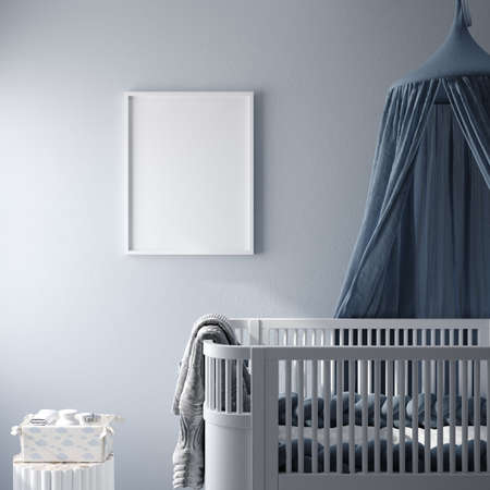 Mockup frame in children's bedroom, 3d render