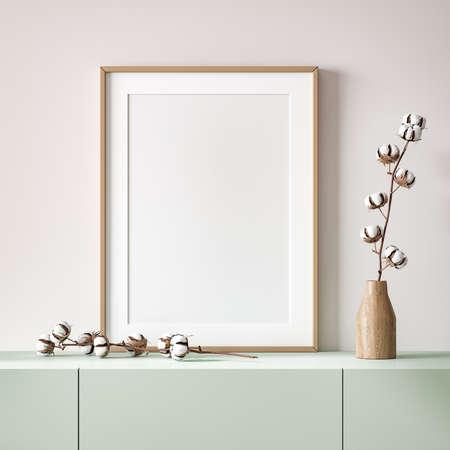 Mockup poster close up in home interior background, 3d render 免版税图像