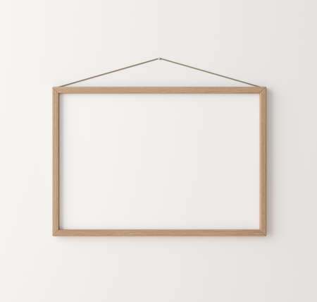 Mockup poster frame close up on wall, 3d render 免版税图像