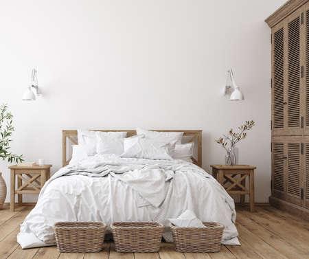 Scandinavian farmhouse bedroom interior, wall mockup, 3d render Standard-Bild