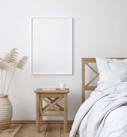 Mockup poster frame in white cozy bedroom interior, Scandinavian style, 3d render