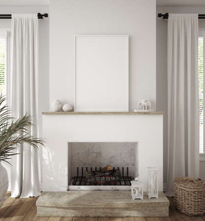 Mockup frame in scandinavian farmhouse living room interior, 3d render