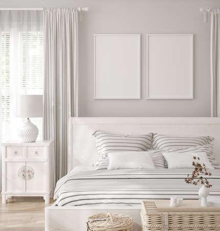 Mockup frame in white cozy bedroom interior background, 3d render