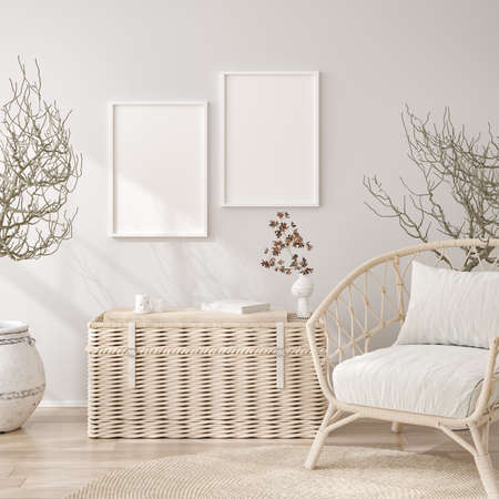 Mockup frame in white cozy living room interior background, 3d render