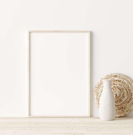 Mock up frame in home interior background, white room with natural wooden furniture, Scandi-Boho style, 3d render Stock fotó