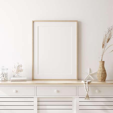 Mockup frame in cozy coastal style home interior, 3d render Standard-Bild