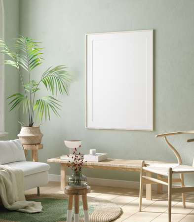 Mock up frame in home interior background, pastel green room with natural wooden furniture, 3d render