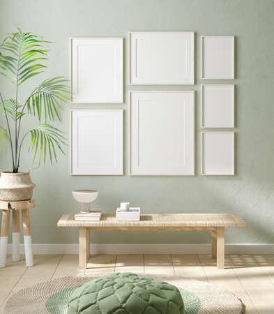 Mock up frame in home interior background, pastel green room with natural wooden furniture, 3d render Stock fotó