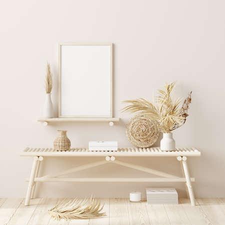 Mock up frame in home interior background, beige room with natural wooden furniture, 3d render Stock fotó