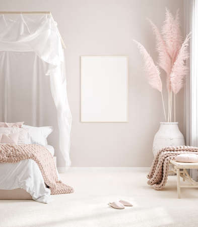 Mockup Frame In Pastel Pink Bedroom Interior Background Scandi Boho Stock Photo Picture And Royalty Free Image Image 157094526