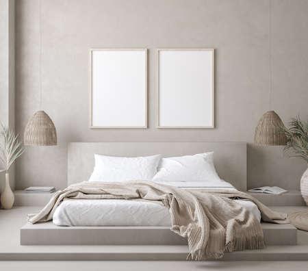 Mock up frame in bedroom interior background, 3d render Standard-Bild