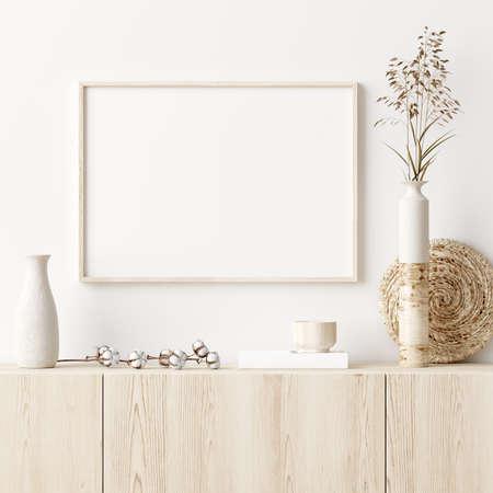Mock up frame in home interior background with minimal decor, 3d render Standard-Bild