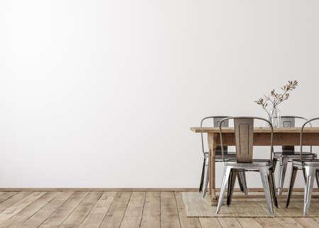 Farmhouse dining room interior, wall mockup, 3d render