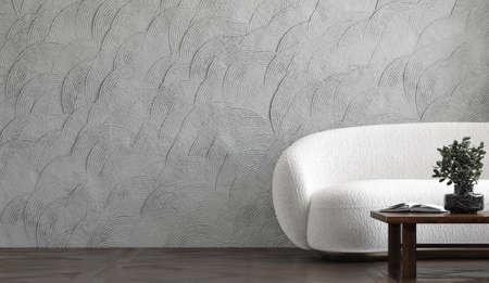 Modern industrial loft, living room with white sofa, 3d render