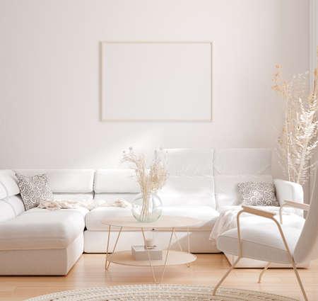 Mockup frame in interior background, room in light pastel colors, Scandinavian style, 3d render