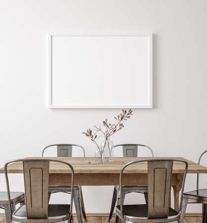 Mockup frame in farmhouse dining room interior, 3d render