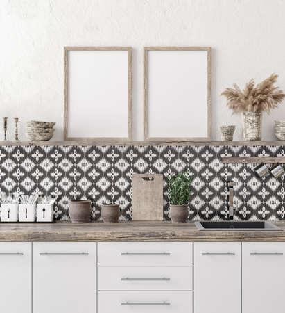 Mock up poster frame in kitchen interior background, Ethnic style, 3d render